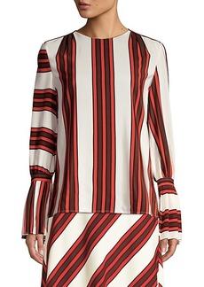Tory Burch Stripe Flare-Sleeve Silk Blouse