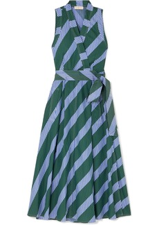 Tory Burch Striped Cotton-poplin Wrap Dress