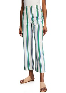 Tory Burch Striped Cotton Straight-Leg Pants