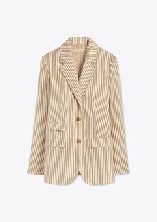Tory Burch Striped Linen Blazer