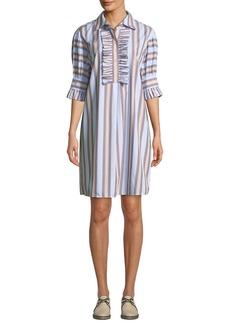 ca26bc61653 Tory Burch Striped Ruffle-Front Half-Sleeve Shirtdress