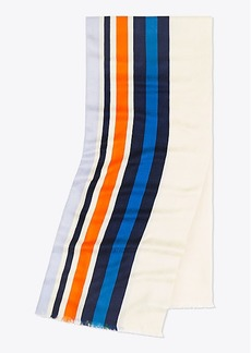 Tory Burch STRIPED TRAVELER OBLONG SCARF