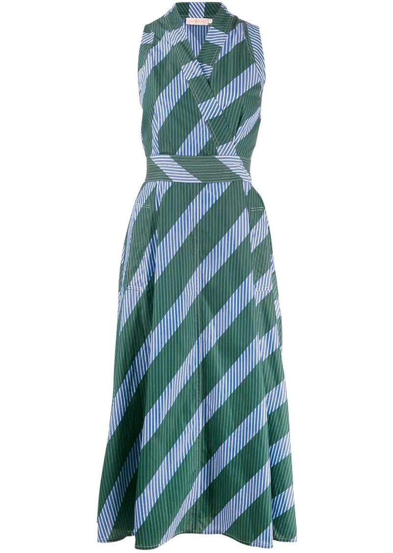 Tory Burch striped wrap-style dress