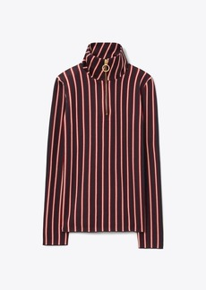 Tory Burch Striped Zip-Front Turtleneck