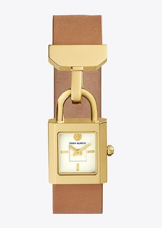 Tory Burch SURREY WATCH, LUGGAGE LEATHER/GOLD-TONE, 22 x 23.5 MM