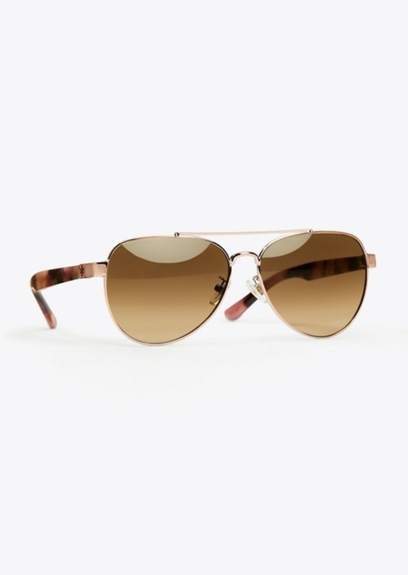 Tory Burch T-LOGO PILOT SUNGLASSES
