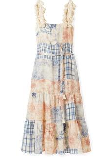 Tory Burch Tasseled Patchwork Printed Linen Maxi Dress