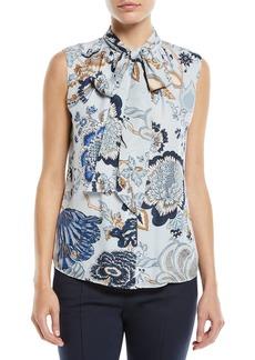 Tory Burch Tie-Neck Floral-Print Silk Top