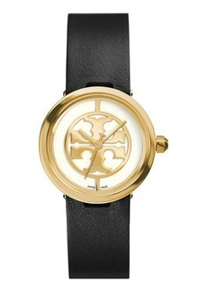Tory Burch 28mm Reva Leather-Strap Watch
