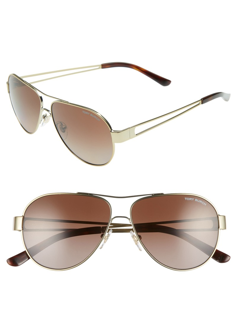 Tory Burch 55mm Polarized Aviator Sunglasses