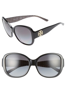 Tory Burch 56mm Gradient Polarized Round Sunglasses