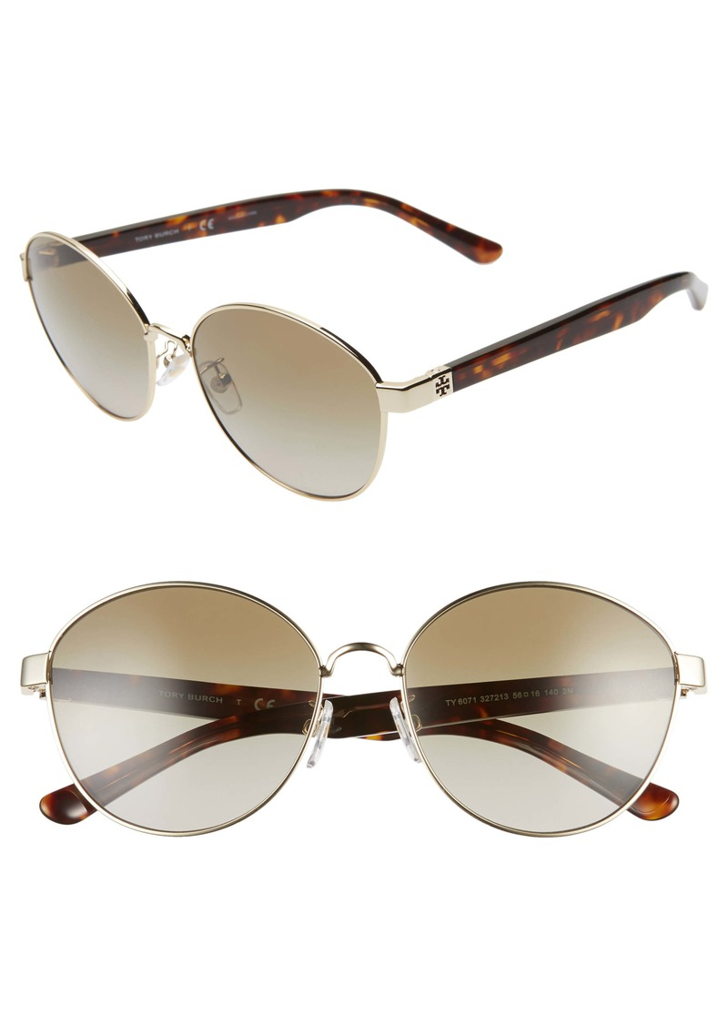 Tory Burch 56mm Gradient Round Sunglasses