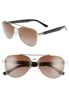 Tory Burch 57mm Polarized Aviator Sunglasses