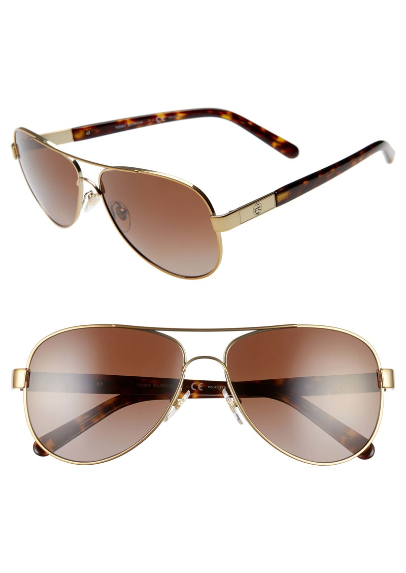 Tory Burch 57mm Polarized Aviator Sunglasses