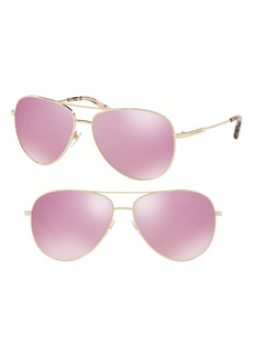 Tory Burch 59mm Thin Metal Aviator Sunglasses
