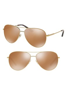 Tory Burch 59mm Thin Polarized Metal Aviator Sunglasses