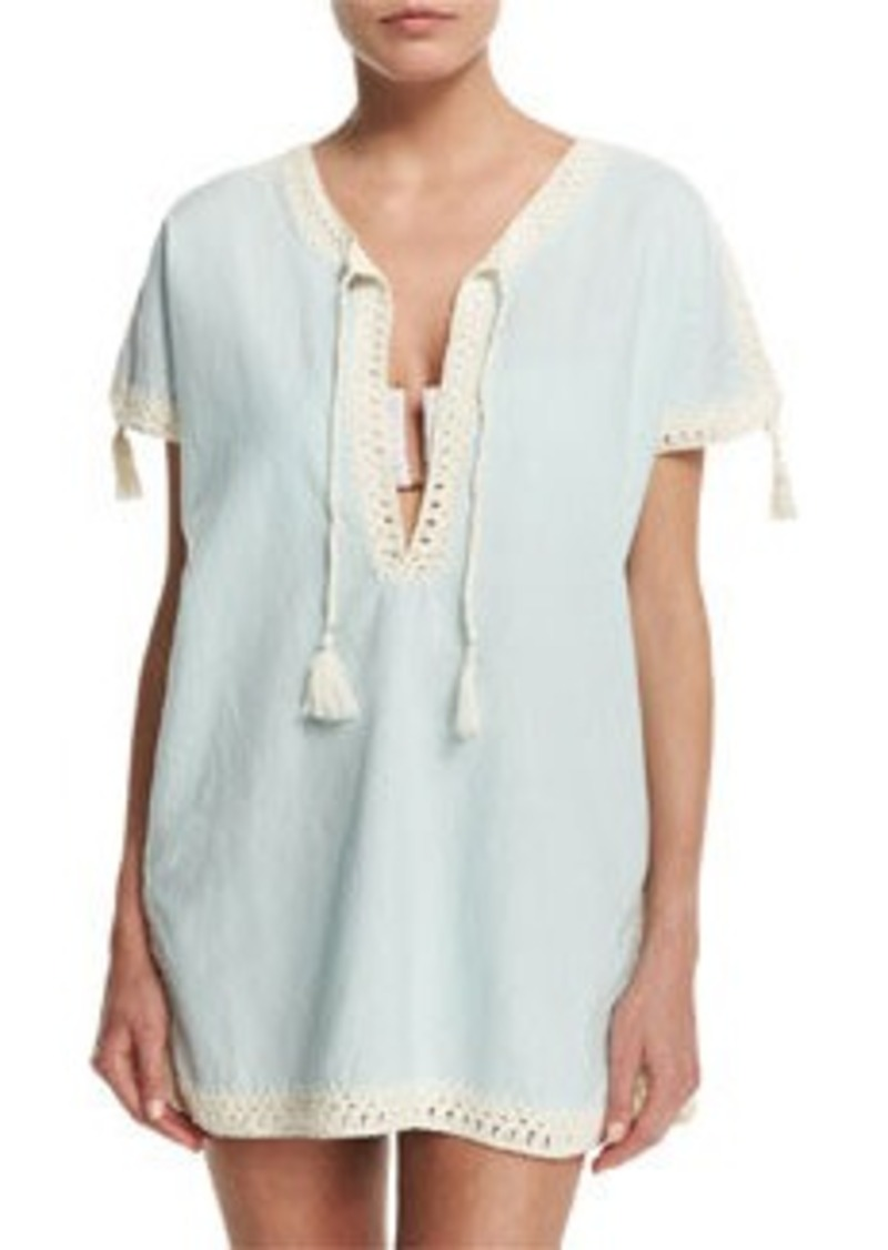 Tory Burch Nerano Crocheted Linen Tunic Coverup with Tassels