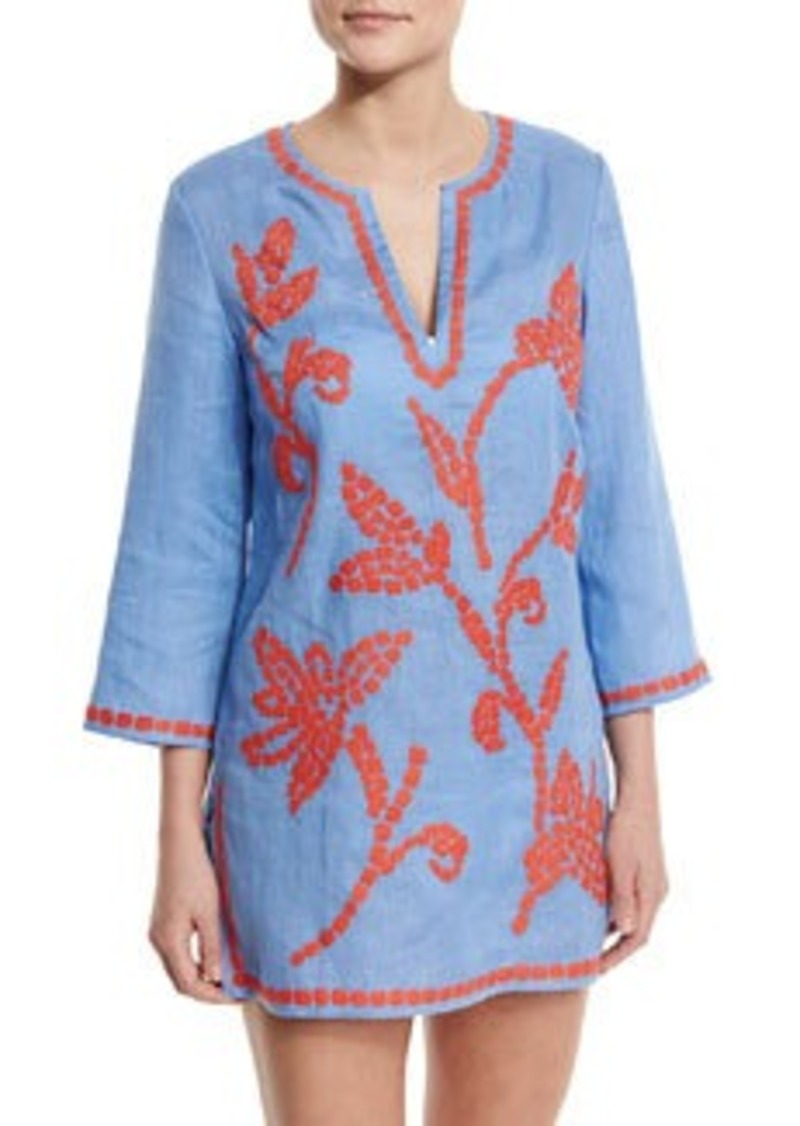 Tory Burch Talisay Embroidered Linen Coverup Tunic