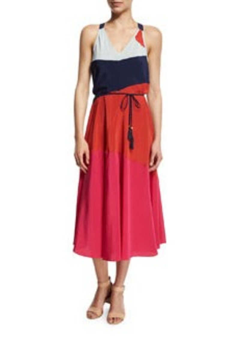Tory Burch Marguerite Colorblock Silk Dress