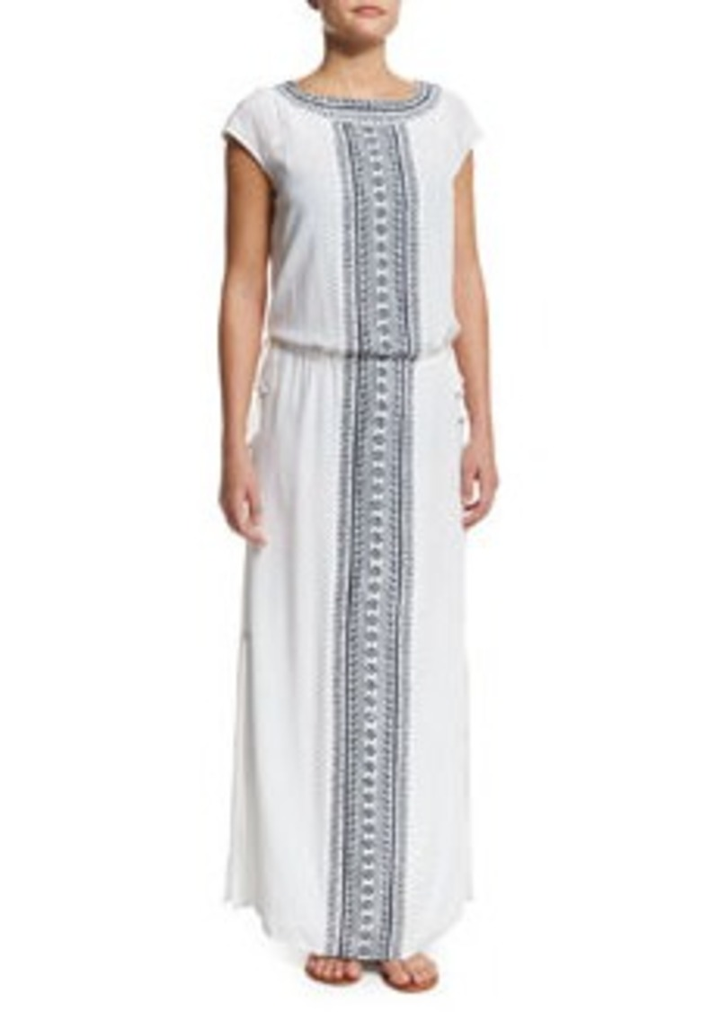 Tory Burch Embroidered Long Caftan Coverup Dress