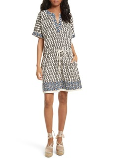 Tory Burch Amara Print Cotton Drawstring Dress