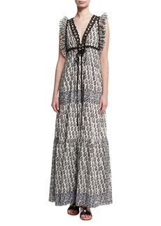 Tory Burch Amita V-Neck Sleeveless Maxi Dress W/ Ruffled Trim