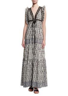 Tory Burch Amita V-Neck Sleeveless Maxi Dress W/ Ruffled Trim