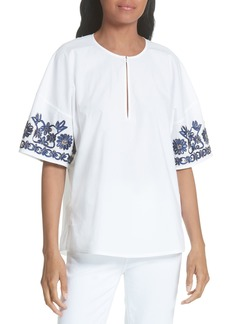Tory Burch Amy Embroidered Cotton Blouse