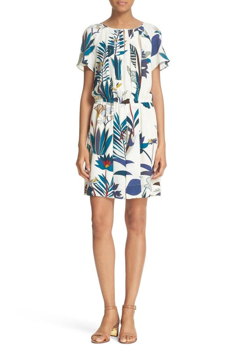 Tory Burch 'Anatolie' Botanical Print A-Line Silk Dress