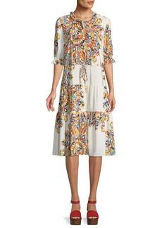 Tory Burch Arabella Psychedelic Geometric Tiered Dress