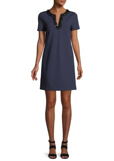 Tory Burch Ayla Embellished-Neck Ponte Dress