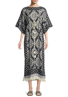 Tory Burch Beatrice Geometric-Print Short-Sleeve Caftan