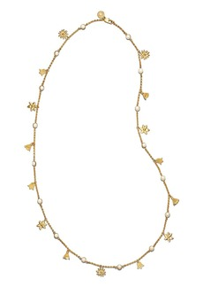 """Tory Burch Bellflower Simulated Pearl Necklace, 37"""""""
