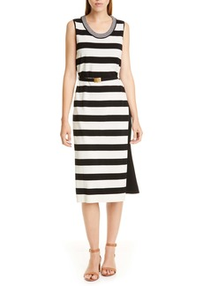 Tory Burch Belted Stripe Midi Dress