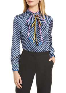 Tory Burch Bias Stripe Contrast Binding Silk Bow Blouse