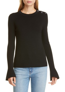 Tory Burch Bijoux Crystal Button Detail Merino Wool Sweater