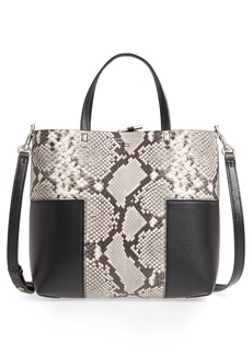 Tory Burch Block-T Mini Snake Embossed Leather Tote