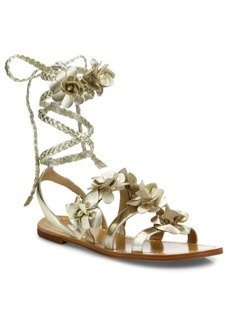 Tory Burch Blossom Metallic Leather Gladiator Sandals