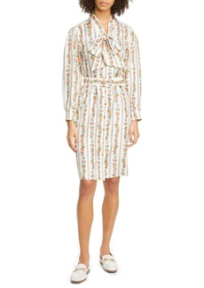 Tory Burch Bow Neck Long Sleeve Silk Shirtdress