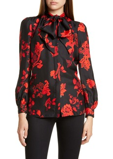 Tory Burch Bow Neck Print Silk Blouse
