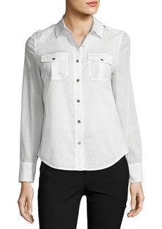 Tory Burch Brigitte Long-Sleeve Button-Front Poplin Blouse