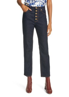 Tory Burch Button Fly Crop Jeans (Rinse)
