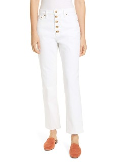 Tory Burch Button Fly Jeans (Rinse)