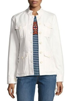 Tory Burch Button-Front Army Jacket w/ Lace-Up Sides