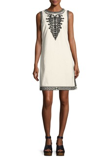 Tory Burch Camille Contrast-Embroidered Shift Dress
