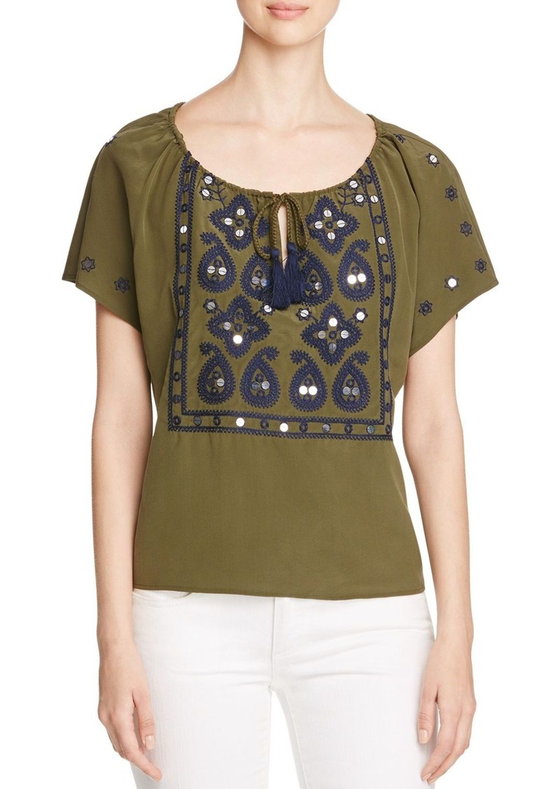 Tory Burch Camille Embellished Silk Peasant Top