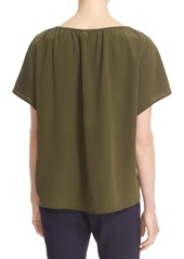 Tory Burch 'Camille' Embellished Silk Peasant Top