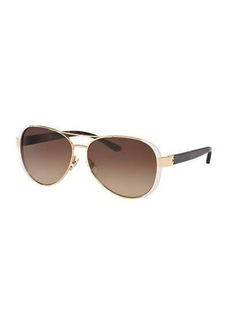 Tory Burch Capped Gradient Aviator Sunglasses