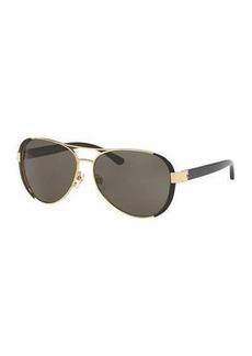 Tory Burch Capped Monochromatic Aviator Sunglasses