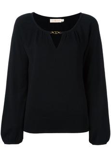 Tory Burch cashmere keyhole detail blouse - Black